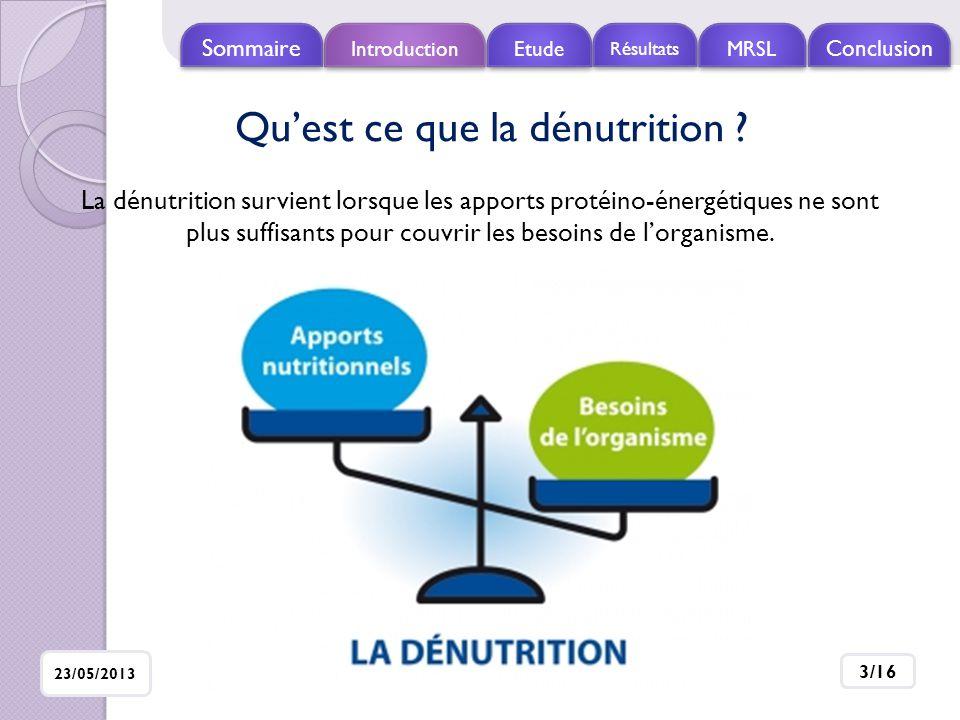 Introduction Etude Résultats MRSL Conclusio n Sommaire 23/05/2013 4/16 Dénutrition Malabsorption Diminution des apports alimentaires Hypercatabolisme