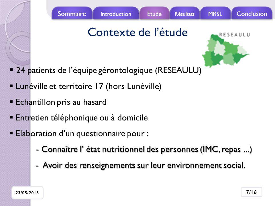 Introduction Etude Résultats MRSL Conclusio n Sommaire 23/05/2013 8/16 Population étudiée