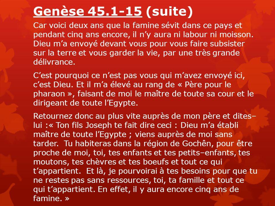 Genèse 45.1-15 (suite) Et voici : vous voyez de vos yeux, et mon frère Benjamin également, que c'est bien moi qui vous parle.