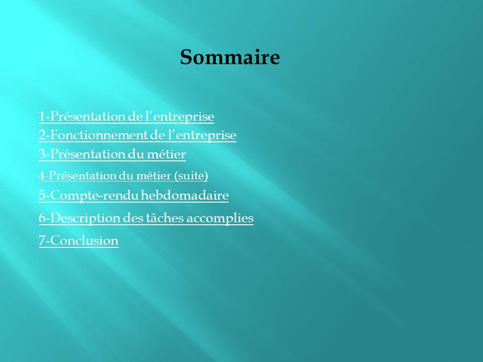 Sommaire 1-Présentation de l'entreprise 2-Fonctionnement de l'entreprise 3-Présentation du métier 5-Compte-rendu hebdomadaire 6-Description des tâches