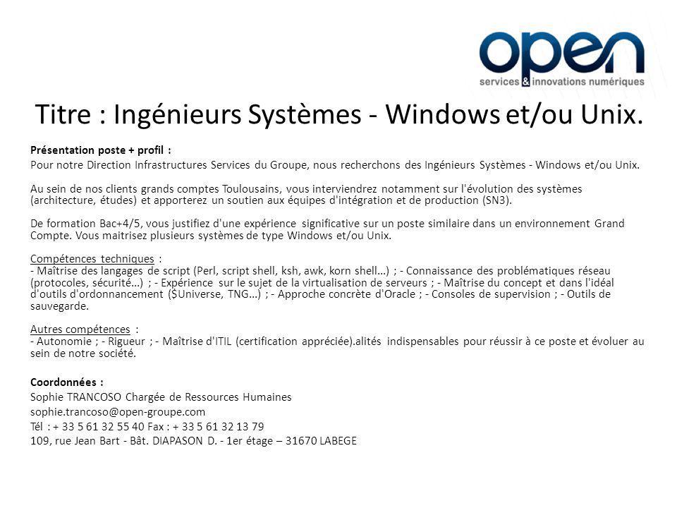 Titre : Expert Citrix Windows (H/F) Présentation poste + profil : Intégré(e) chez nos clients Grands Comptes basés à Toulouse, vous assurerez le maintien en condition opérationnelle (MCO) des applications et des infrastructures.
