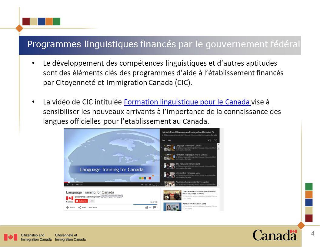 Le développement des compétences linguistiques et d'autres aptitudes sont des éléments clés des programmes d'aide à l'établissement financés par Citoyenneté et Immigration Canada (CIC).