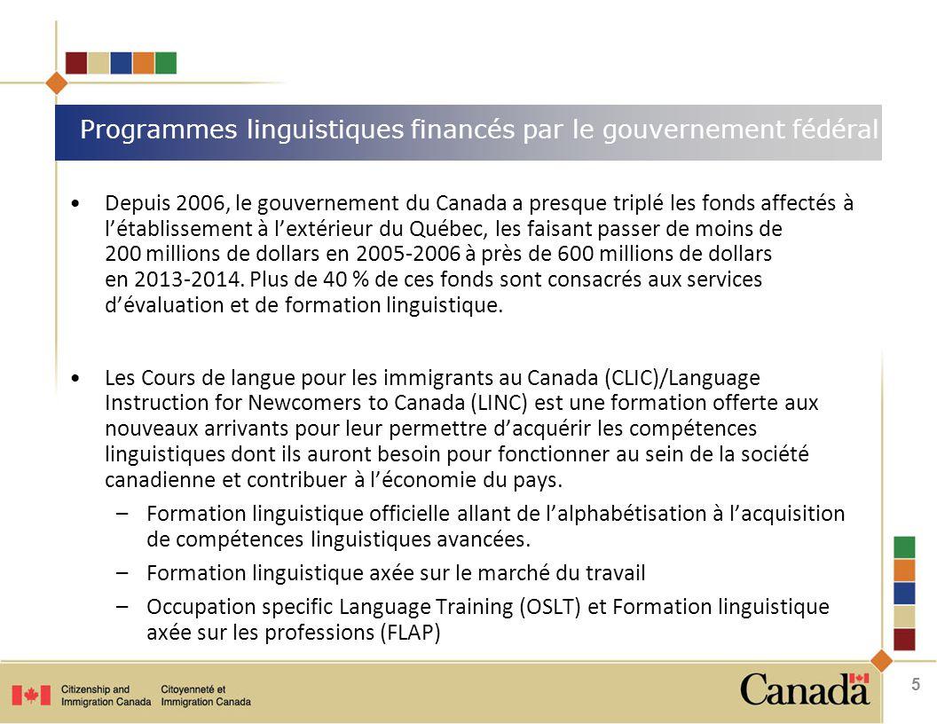 Depuis 2006, le gouvernement du Canada a presque triplé les fonds affectés à l'établissement à l'extérieur du Québec, les faisant passer de moins de 200 millions de dollars en 2005-2006 à près de 600 millions de dollars en 2013 ‑ 2014.