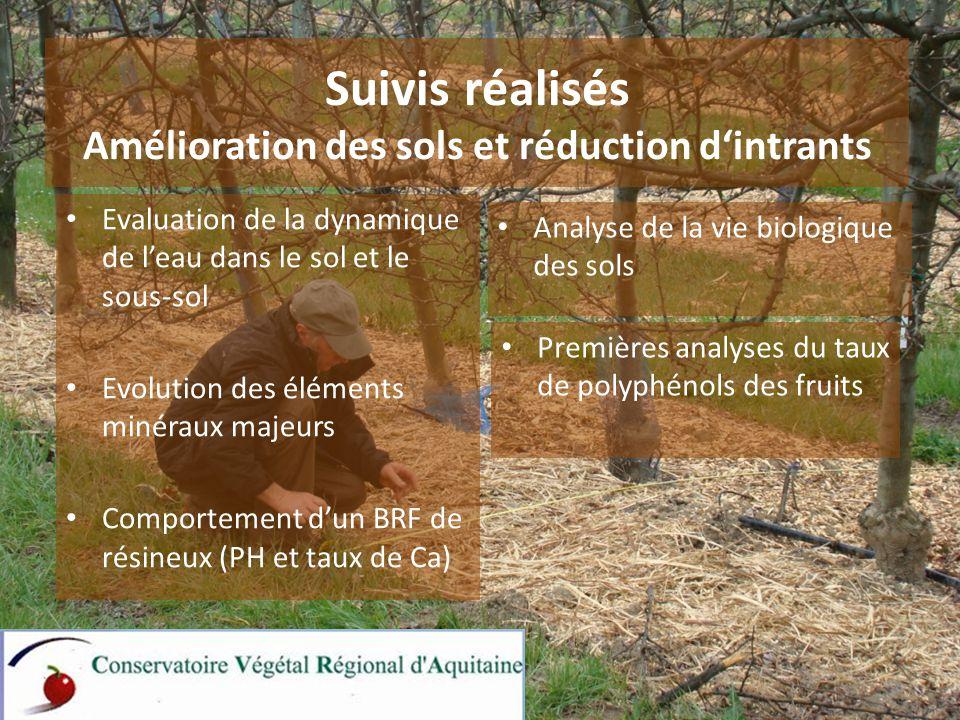 Suivis réalisés Amélioration des sols et réduction d'intrants Analyse de la vie biologique des sols Evaluation de la dynamique de l'eau dans le sol et le sous-sol Evolution des éléments minéraux majeurs Comportement d'un BRF de résineux (PH et taux de Ca) Premières analyses du taux de polyphénols des fruits 3