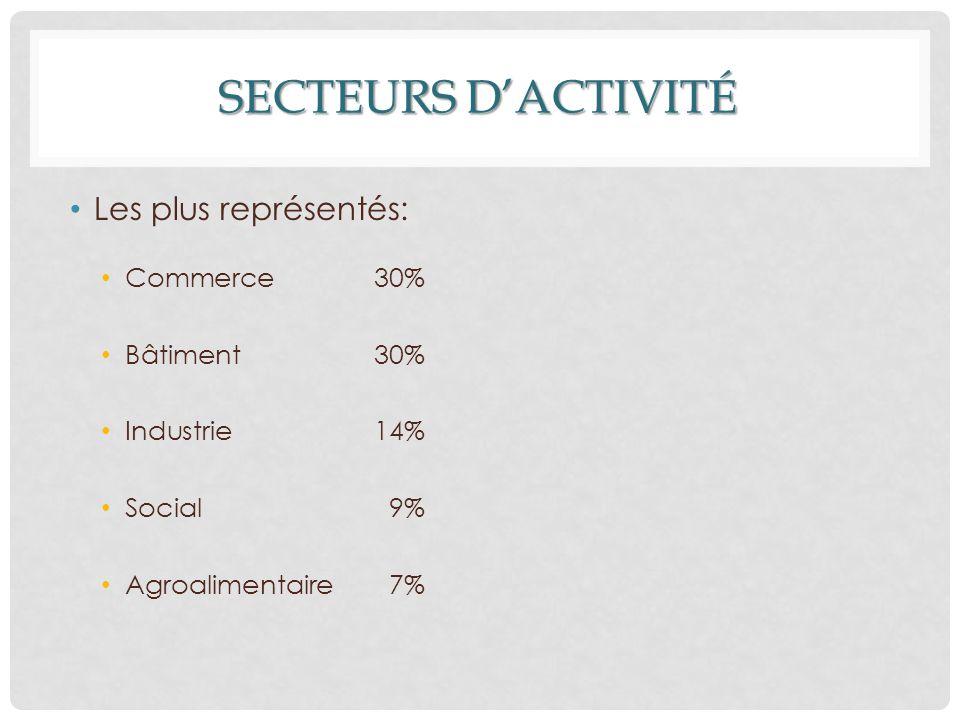 SECTEURS D'ACTIVITÉ Les plus représentés: Commerce 30% Bâtiment 30% Industrie 14% Social 9% Agroalimentaire 7%