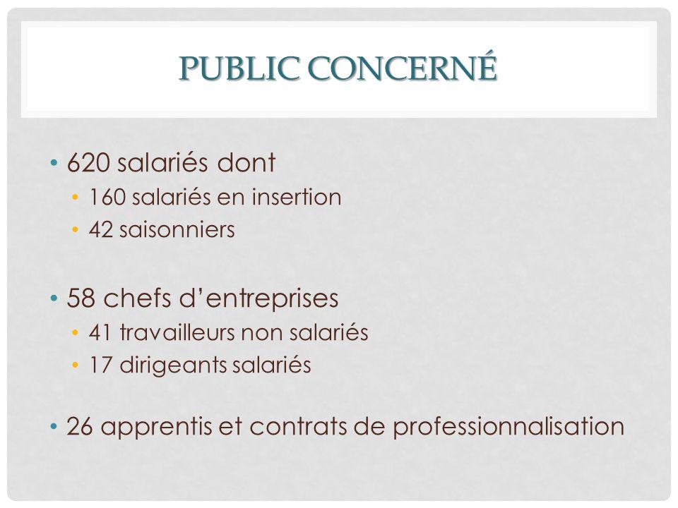 PUBLIC CONCERNÉ 620 salariés dont 160 salariés en insertion 42 saisonniers 58 chefs d'entreprises 41 travailleurs non salariés 17 dirigeants salariés