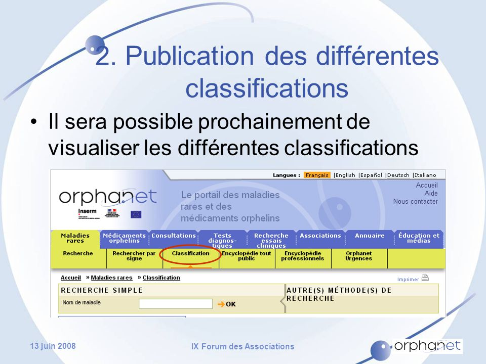 13 juin 2008 IX Forum des Associations Il sera possible prochainement de visualiser les différentes classifications 2.