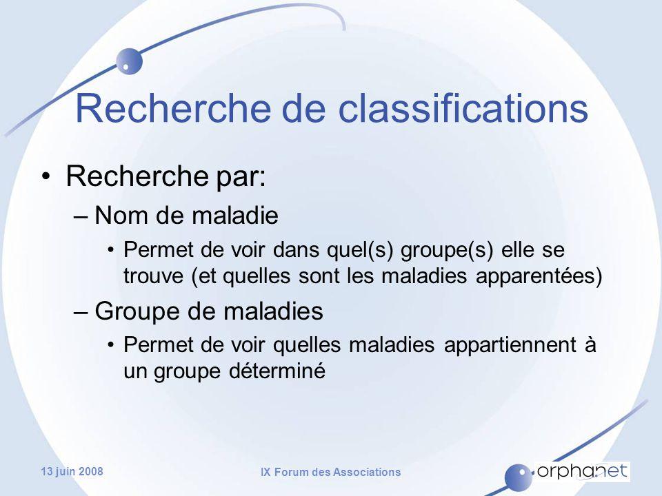 13 juin 2008 IX Forum des Associations Recherche de classifications Recherche par: –Nom de maladie Permet de voir dans quel(s) groupe(s) elle se trouve (et quelles sont les maladies apparentées) –Groupe de maladies Permet de voir quelles maladies appartiennent à un groupe déterminé
