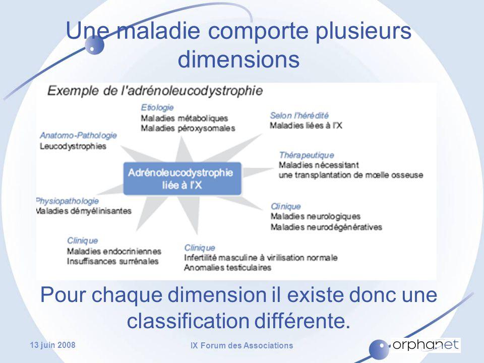 13 juin 2008 IX Forum des Associations Une maladie comporte plusieurs dimensions Pour chaque dimension il existe donc une classification différente.