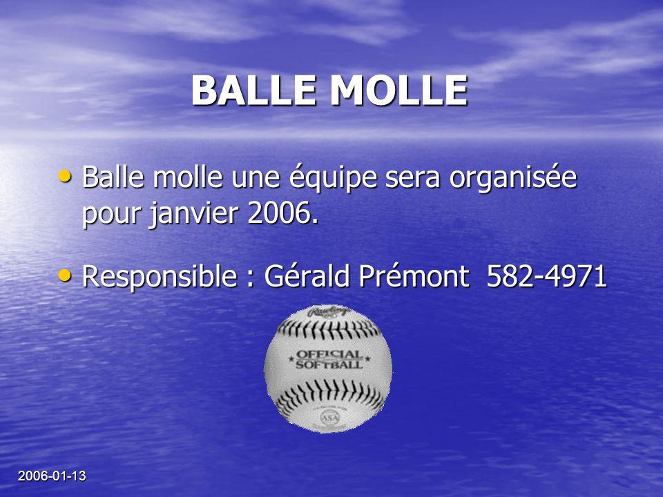 2006-01-13 BALLE MOLLE Balle molle une équipe sera organisée pour janvier 2006.