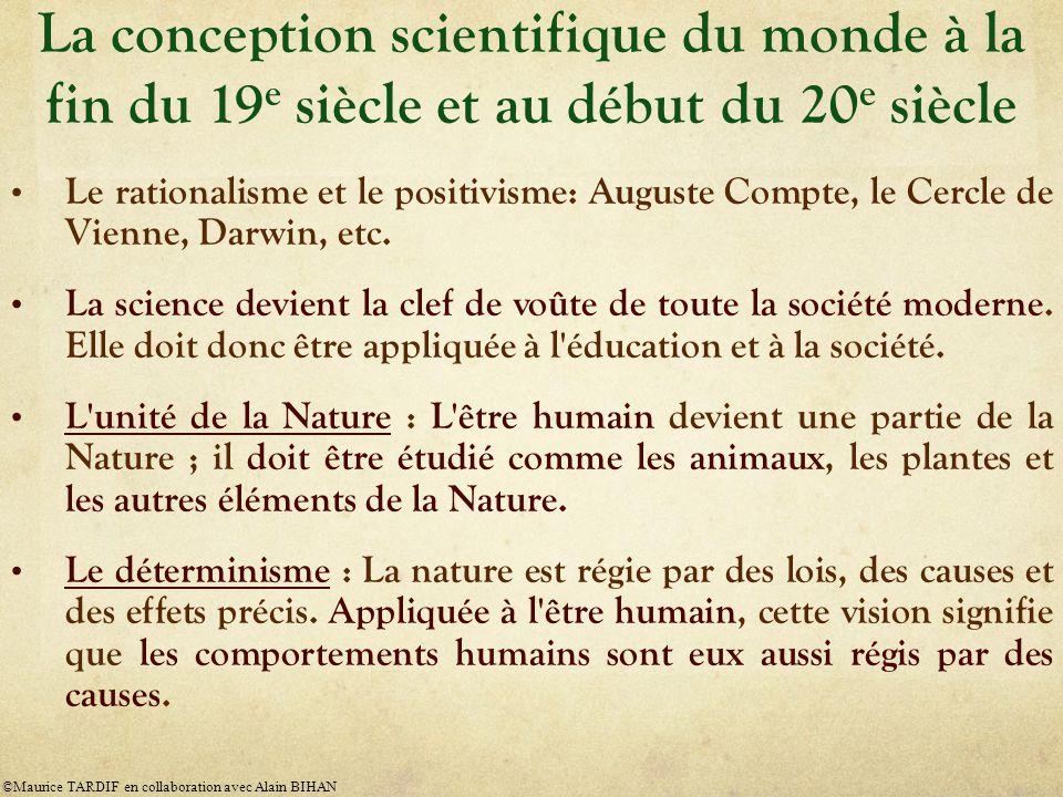 Le rationalisme et le positivisme: Auguste Compte, le Cercle de Vienne, Darwin, etc.
