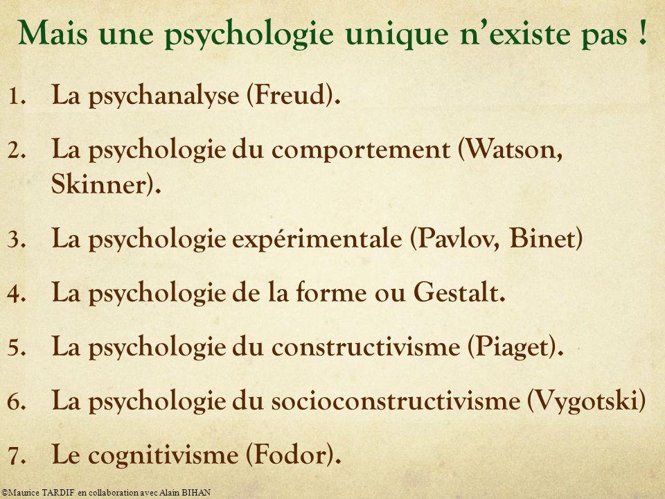 1.La psychanalyse (Freud). 2. La psychologie du comportement (Watson, Skinner).