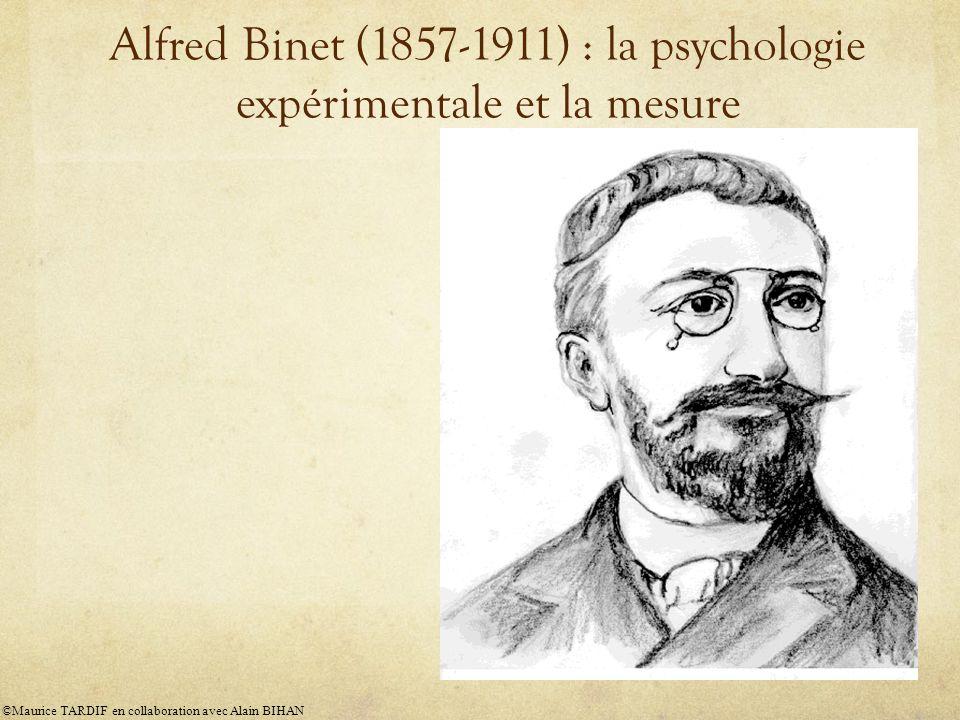 Alfred Binet (1857-1911) : la psychologie expérimentale et la mesure ©Maurice TARDIF en collaboration avec Alain BIHAN