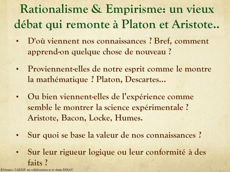 Rationalisme & Empirisme: un vieux débat qui remonte à Platon et Aristote..