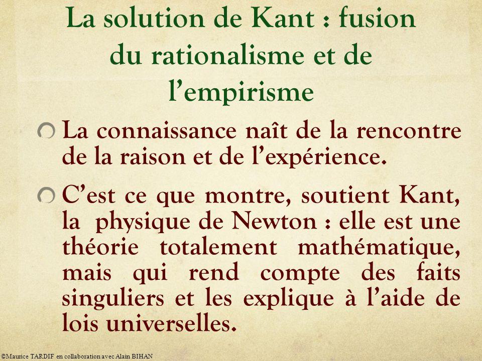 La solution de Kant : fusion du rationalisme et de l'empirisme La connaissance naît de la rencontre de la raison et de l'expérience.