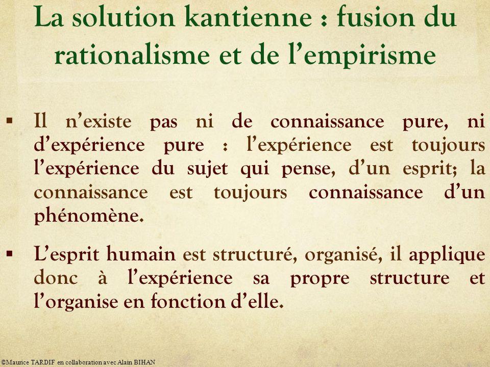 La solution kantienne : fusion du rationalisme et de l'empirisme  Il n'existe pas ni de connaissance pure, ni d'expérience pure : l'expérience est toujours l'expérience du sujet qui pense, d'un esprit; la connaissance est toujours connaissance d'un phénomène.