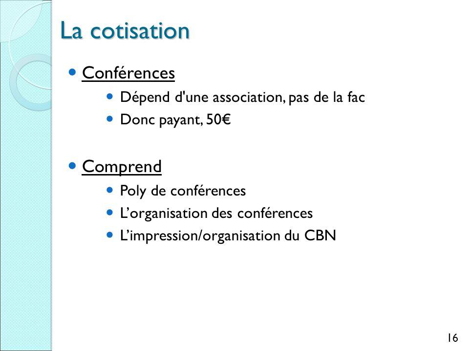 La cotisation Conférences Dépend d une association, pas de la fac Donc payant, 50€ Comprend Poly de conférences L'organisation des conférences L'impression/organisation du CBN 16