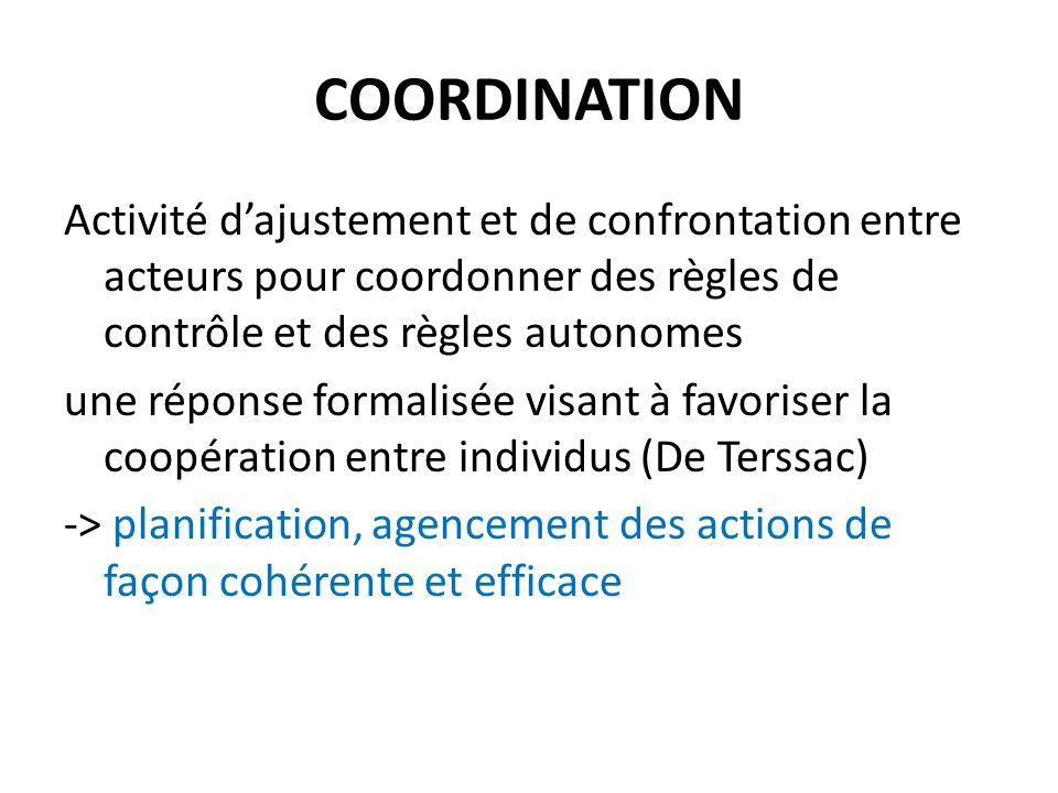COORDINATION Activité d'ajustement et de confrontation entre acteurs pour coordonner des règles de contrôle et des règles autonomes une réponse formal