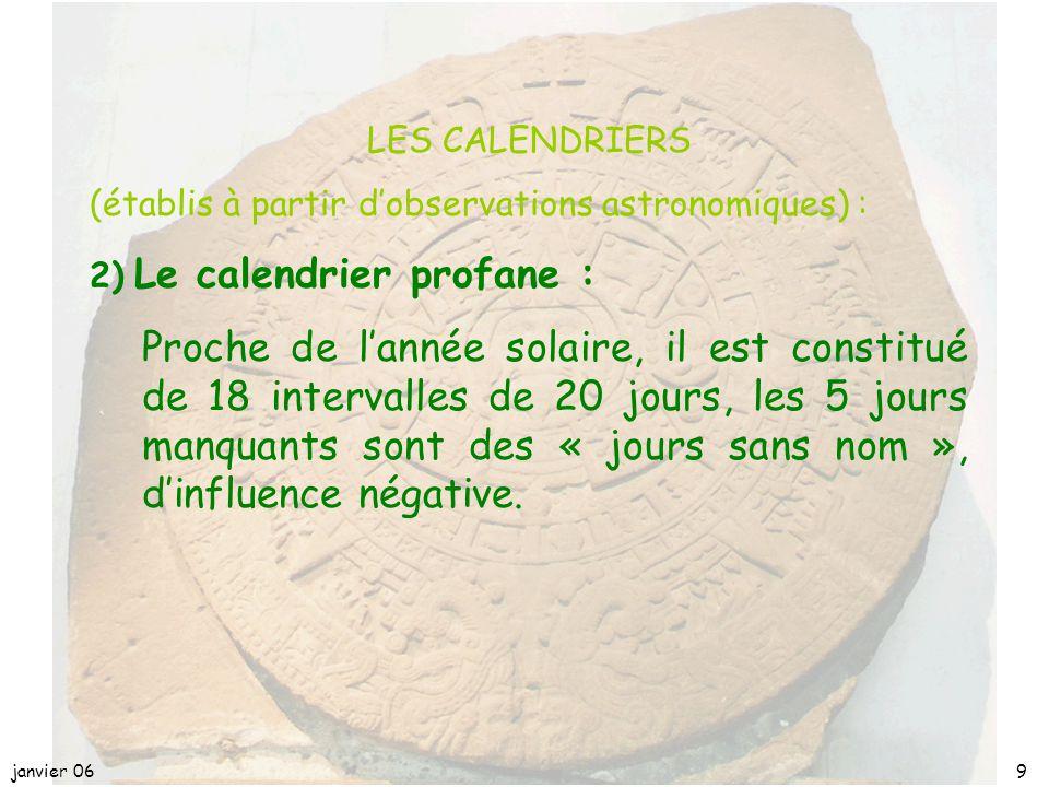 janvier 068 LES CALENDRIERS (établis à partir d'observations astronomiques) : 1)le calendrier rituel : 20 fois 13 jours = 260 jours chaque jour est dé