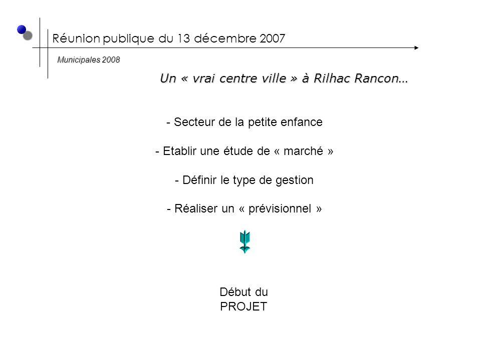 Réunion publique du 13 décembre 2007 Un « vrai centre ville » à Rilhac Rancon… Municipales 2008 - Secteur de la petite enfance - Etablir une étude de « marché » - Définir le type de gestion - Réaliser un « prévisionnel » Début du PROJET