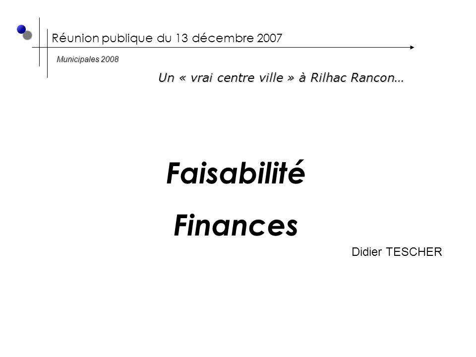 Réunion publique du 13 décembre 2007 Faisabilité Finances Didier TESCHER Un « vrai centre ville » à Rilhac Rancon… Municipales 2008