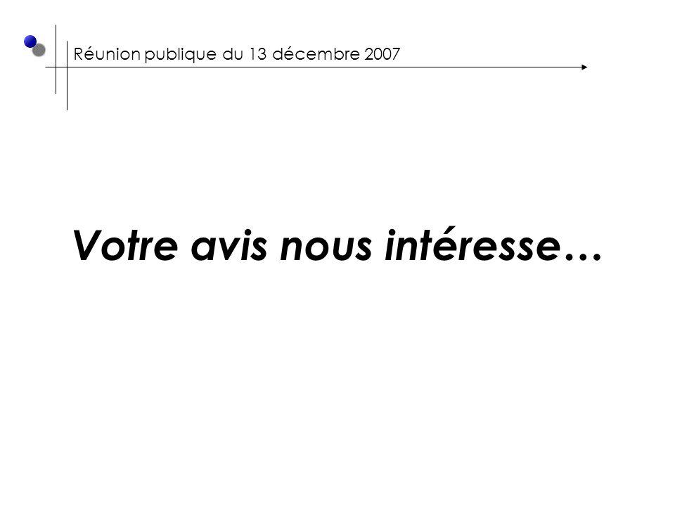 Réunion publique du 13 décembre 2007 Votre avis nous intéresse…