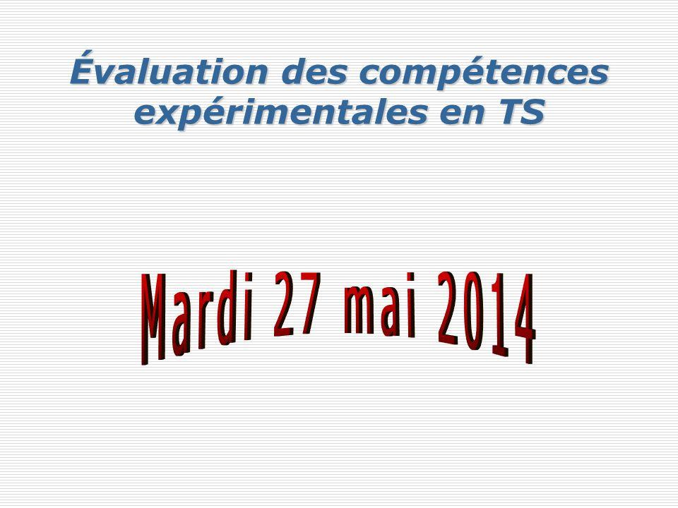 Évaluation des compétences expérimentales en TS