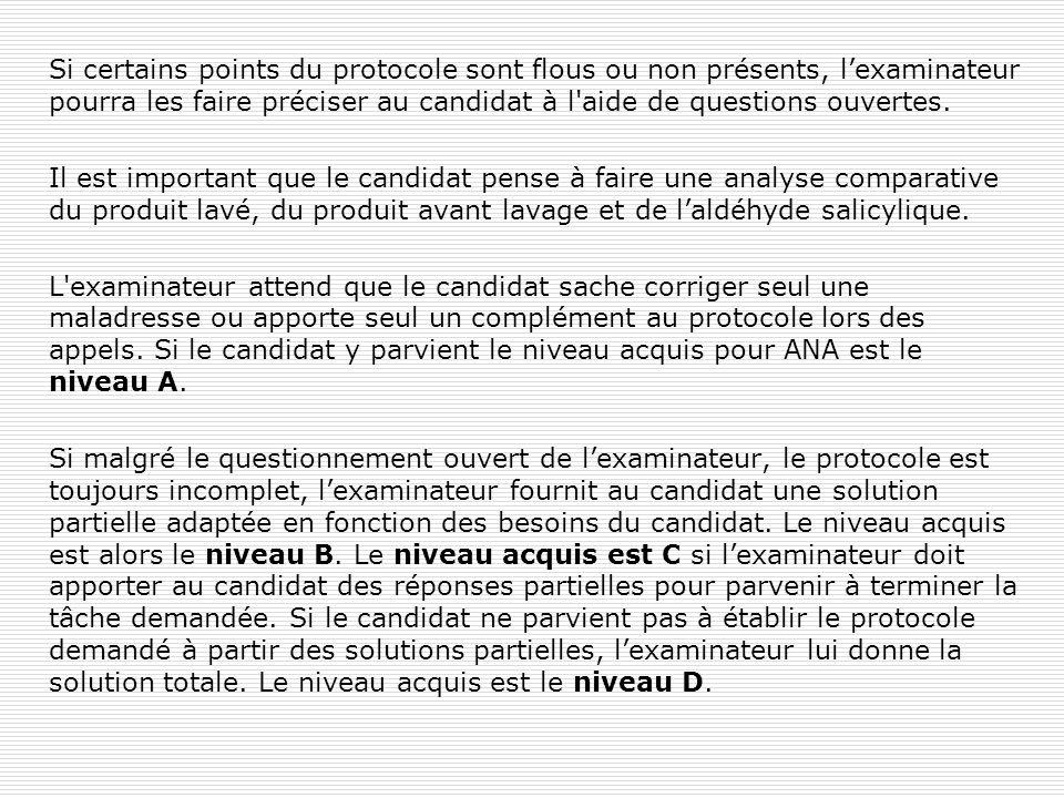 Si certains points du protocole sont flous ou non présents, l'examinateur pourra les faire préciser au candidat à l'aide de questions ouvertes. Il est
