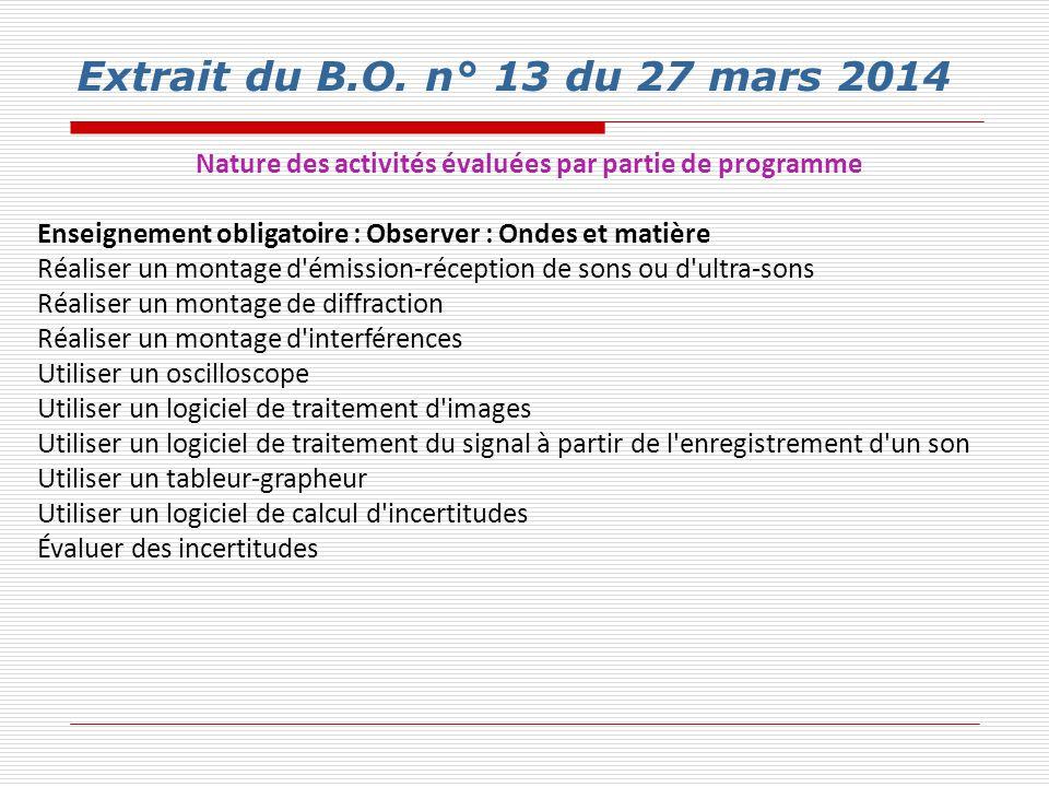 Extrait du B.O. n° 13 du 27 mars 2014 Nature des activités évaluées par partie de programme Enseignement obligatoire : Observer : Ondes et matière Réa