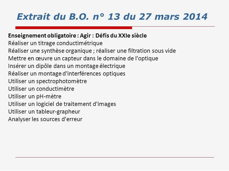 Extrait du B.O. n° 13 du 27 mars 2014 Enseignement obligatoire : Agir : Défis du XXIe siècle Réaliser un titrage conductimétrique Réaliser une synthès