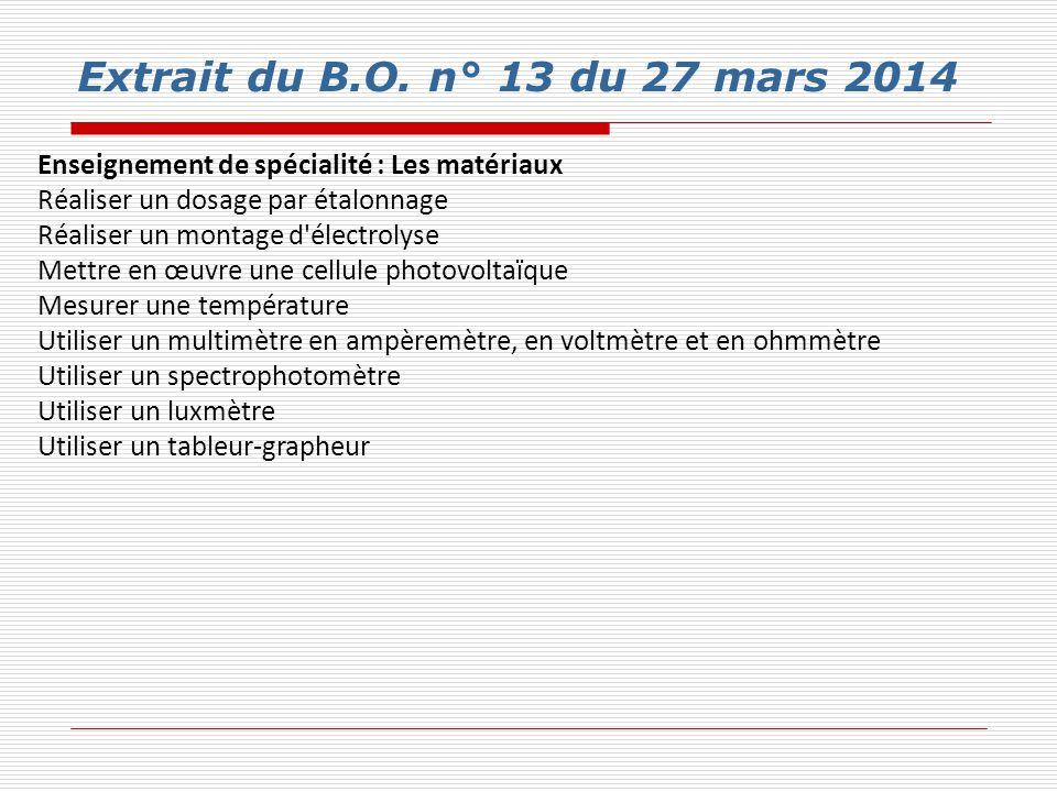 Extrait du B.O. n° 13 du 27 mars 2014 Enseignement de spécialité : Les matériaux Réaliser un dosage par étalonnage Réaliser un montage d'électrolyse M