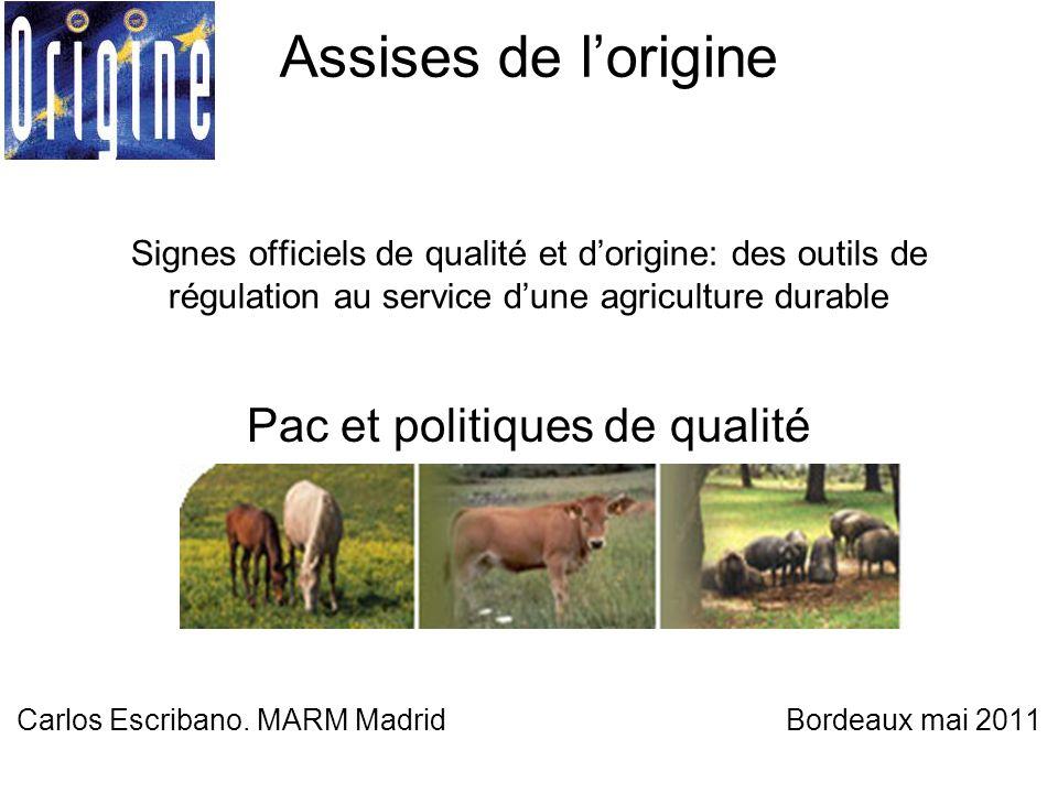 Assises de l'origine Signes officiels de qualité et d'origine: des outils de régulation au service d'une agriculture durable Pac et politiques de qualité Carlos Escribano.