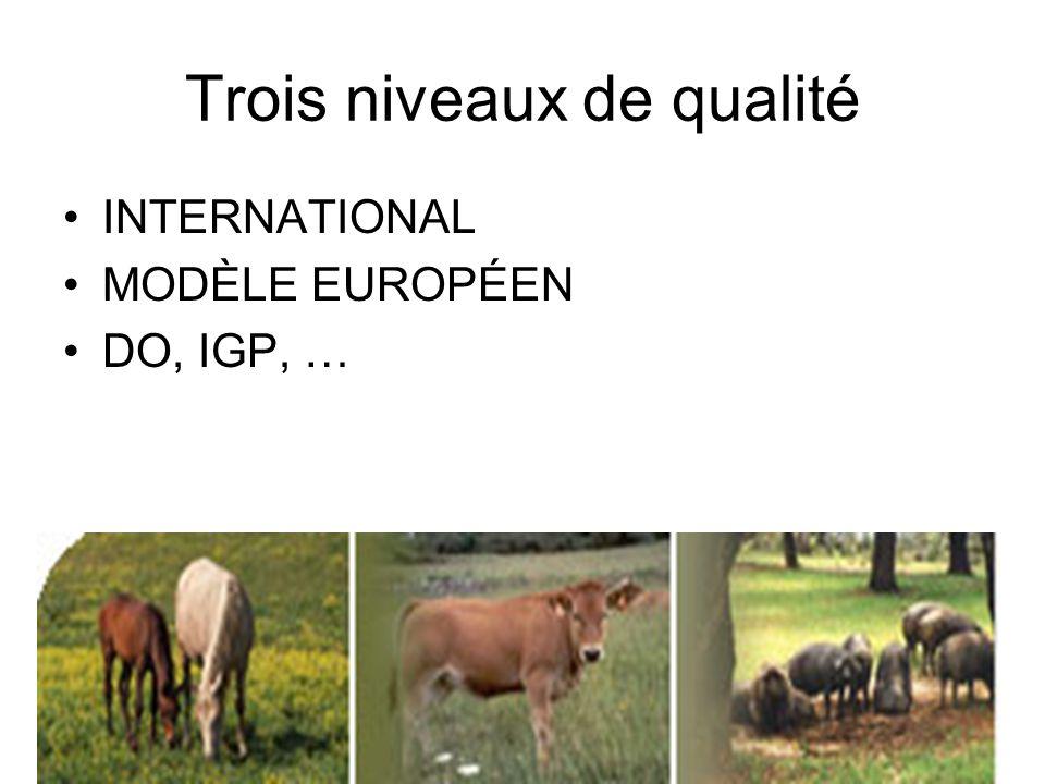 Trois niveaux de qualité INTERNATIONAL MODÈLE EUROPÉEN DO, IGP, …