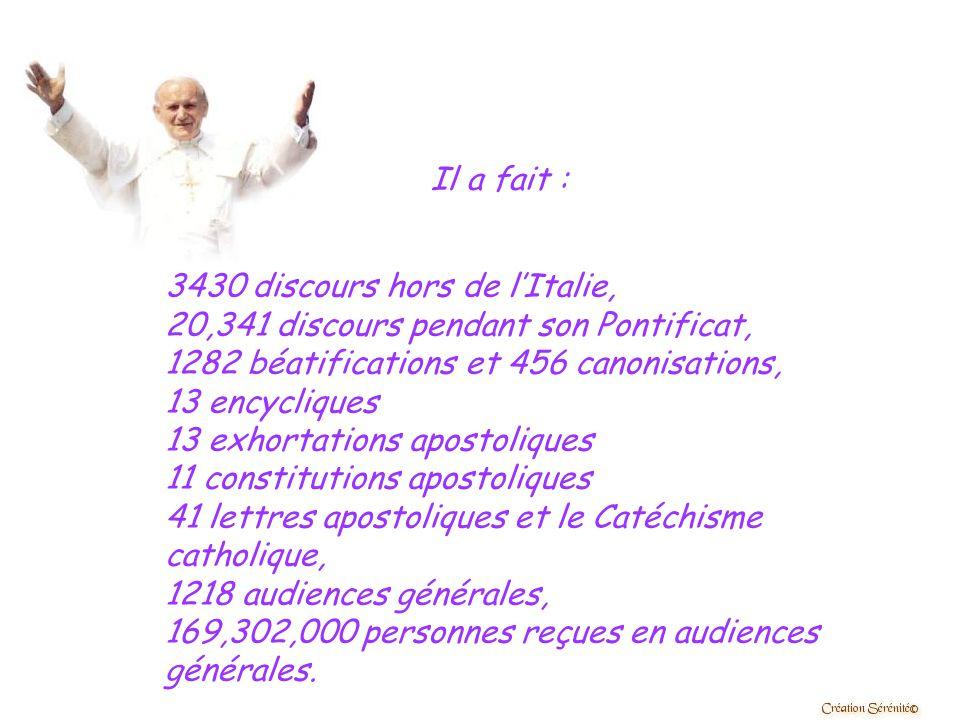 Il a fait 95 voyages en dehors de l'Italie, 140 dans toute l'Italie sans compter Rome. Il a visité 130 nations et 604 villes. La distance parcourue lo