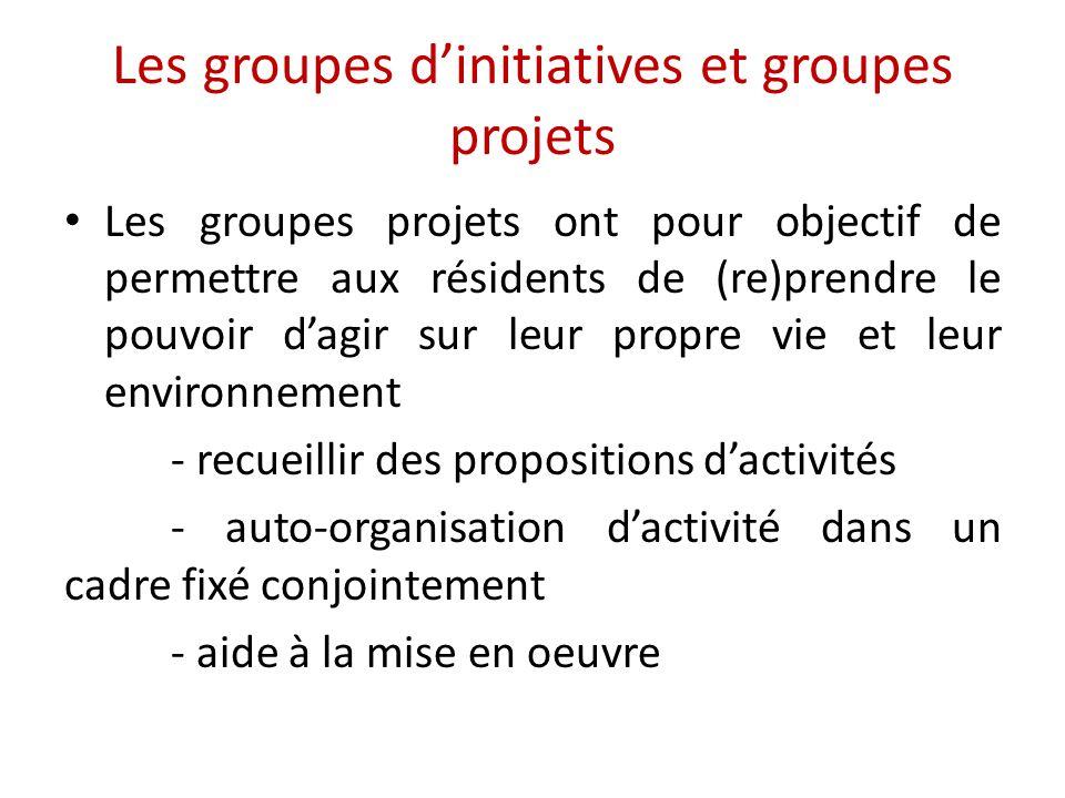 Les groupes d'initiatives et groupes projets Les groupes projets ont pour objectif de permettre aux résidents de (re)prendre le pouvoir d'agir sur leur propre vie et leur environnement - recueillir des propositions d'activités - auto-organisation d'activité dans un cadre fixé conjointement - aide à la mise en oeuvre