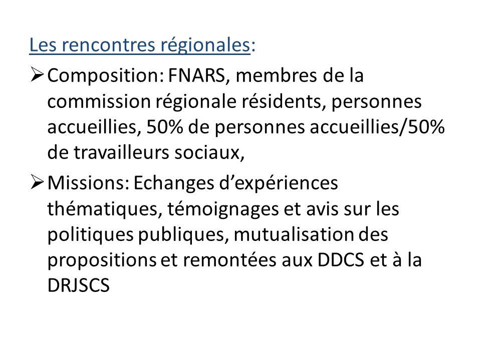Les rencontres régionales:  Composition: FNARS, membres de la commission régionale résidents, personnes accueillies, 50% de personnes accueillies/50% de travailleurs sociaux,  Missions: Echanges d'expériences thématiques, témoignages et avis sur les politiques publiques, mutualisation des propositions et remontées aux DDCS et à la DRJSCS