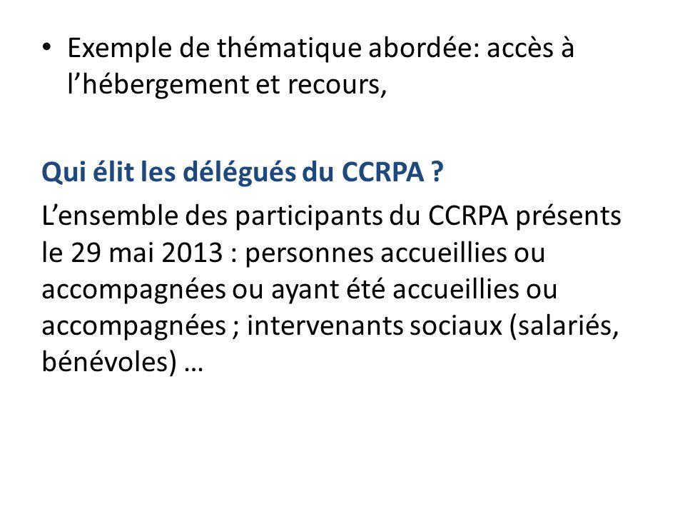 Exemple de thématique abordée: accès à l'hébergement et recours, Qui élit les délégués du CCRPA .