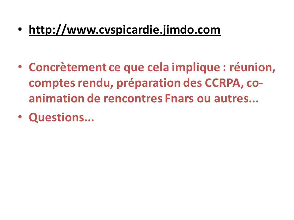 http://www.cvspicardie.jimdo.com Concrètement ce que cela implique : réunion, comptes rendu, préparation des CCRPA, co- animation de rencontres Fnars ou autres...