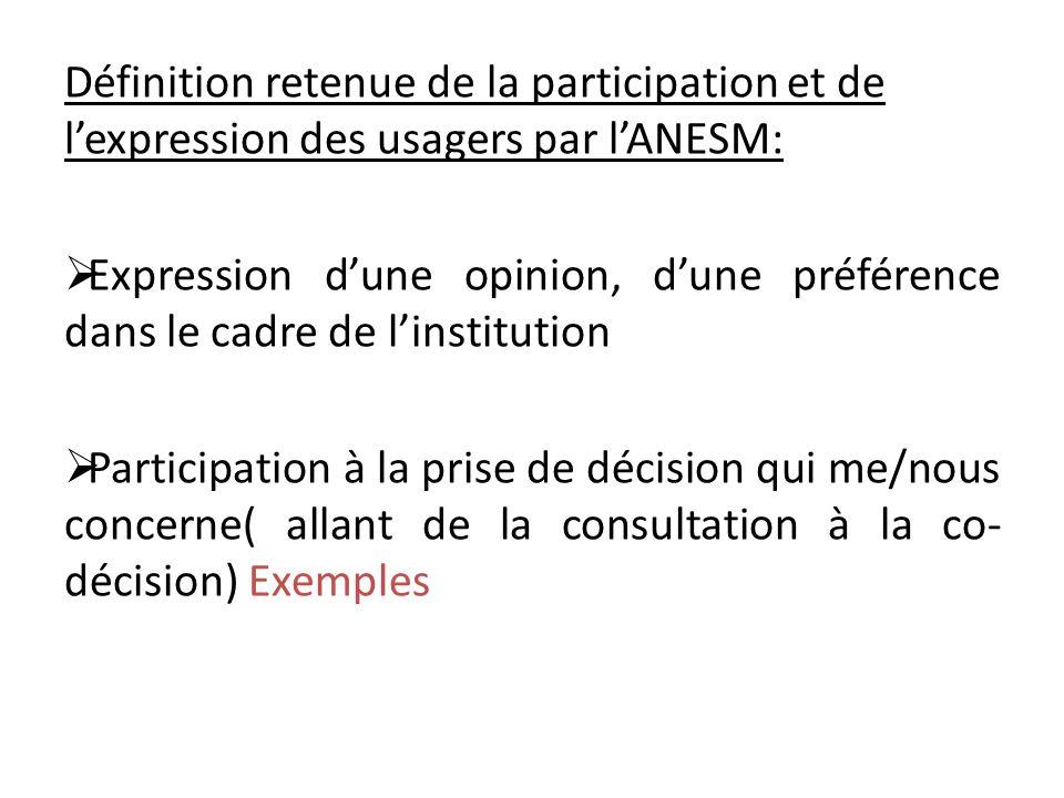 Définition retenue de la participation et de l'expression des usagers par l'ANESM:  Expression d'une opinion, d'une préférence dans le cadre de l'institution  Participation à la prise de décision qui me/nous concerne( allant de la consultation à la co- décision) Exemples