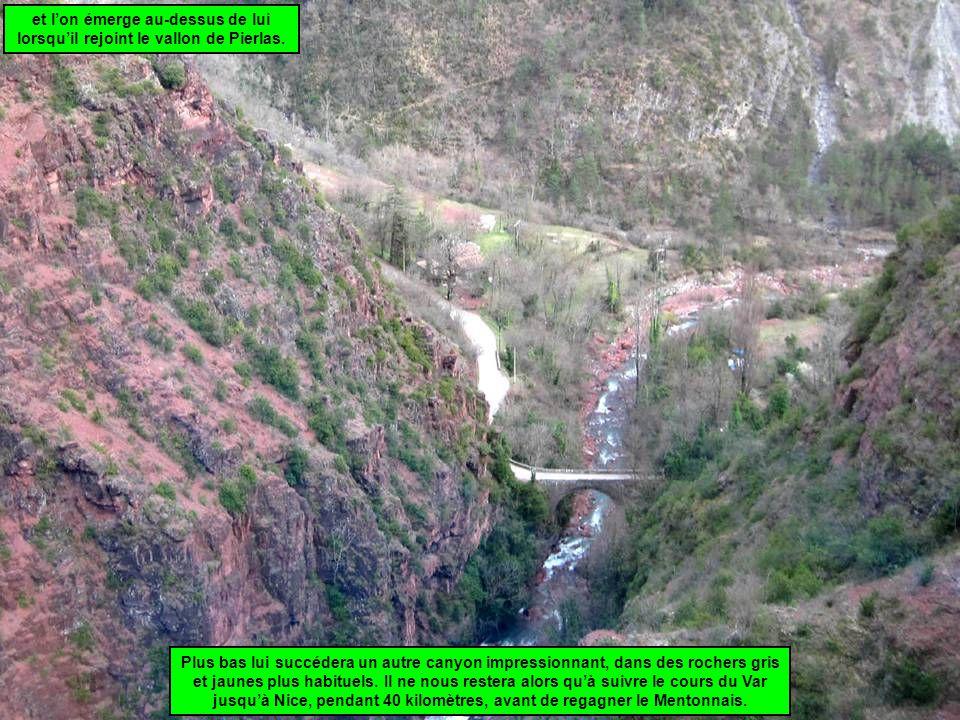 et l'on émerge au-dessus de lui lorsqu'il rejoint le vallon de Pierlas. Plus bas lui succédera un autre canyon impressionnant, dans des rochers gris e