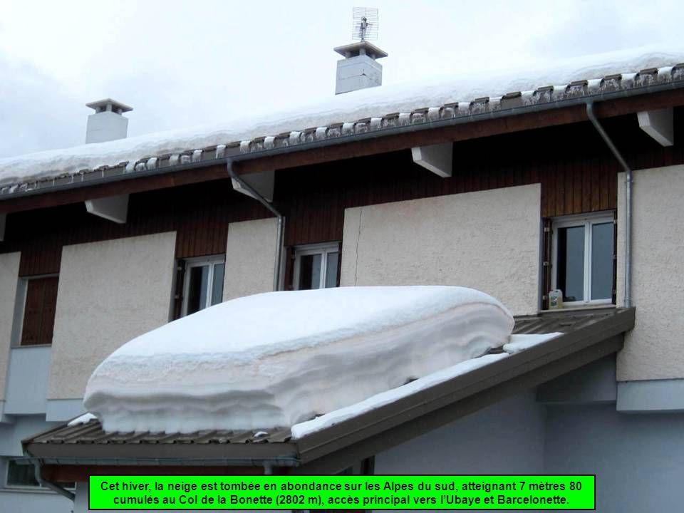 Cet hiver, la neige est tombée en abondance sur les Alpes du sud, atteignant 7 mètres 80 cumulés au Col de la Bonette (2802 m), accès principal vers l'Ubaye et Barcelonette.