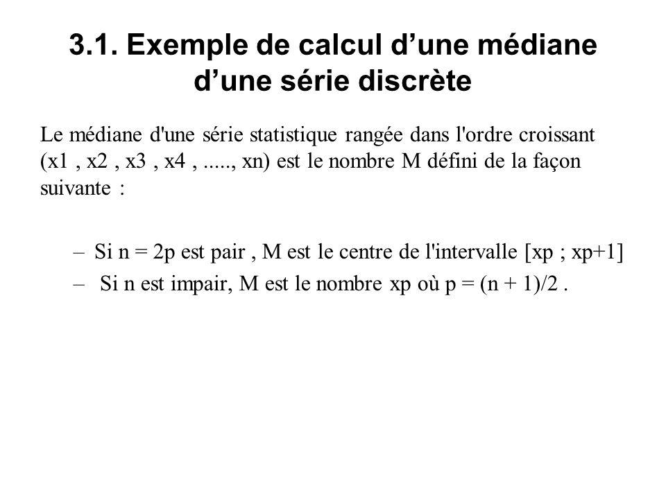 3.1. Exemple de calcul d'une médiane d'une série discrète Le médiane d'une série statistique rangée dans l'ordre croissant (x1, x2, x3, x4,....., xn)