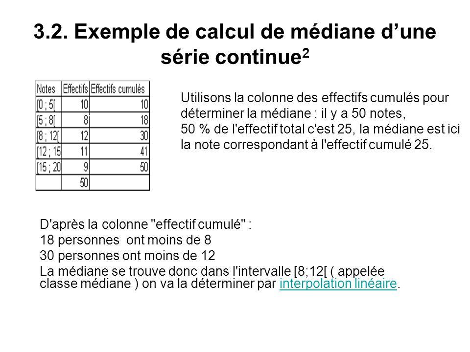 3.2. Exemple de calcul de médiane d'une série continue 2 D'après la colonne