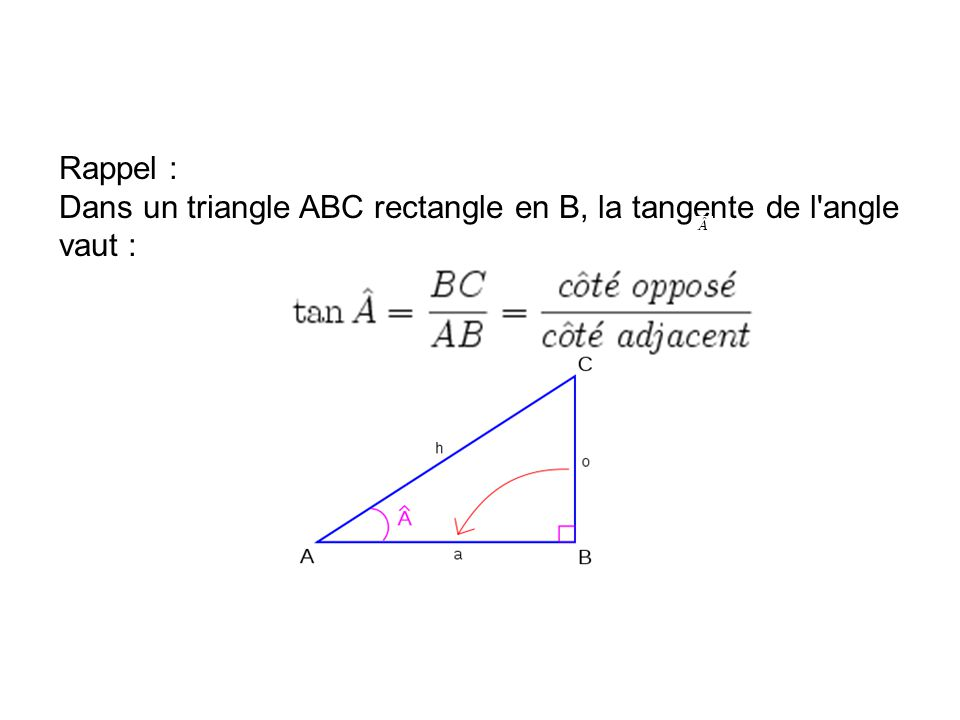 Rappel : Dans un triangle ABC rectangle en B, la tangente de l'angle vaut :