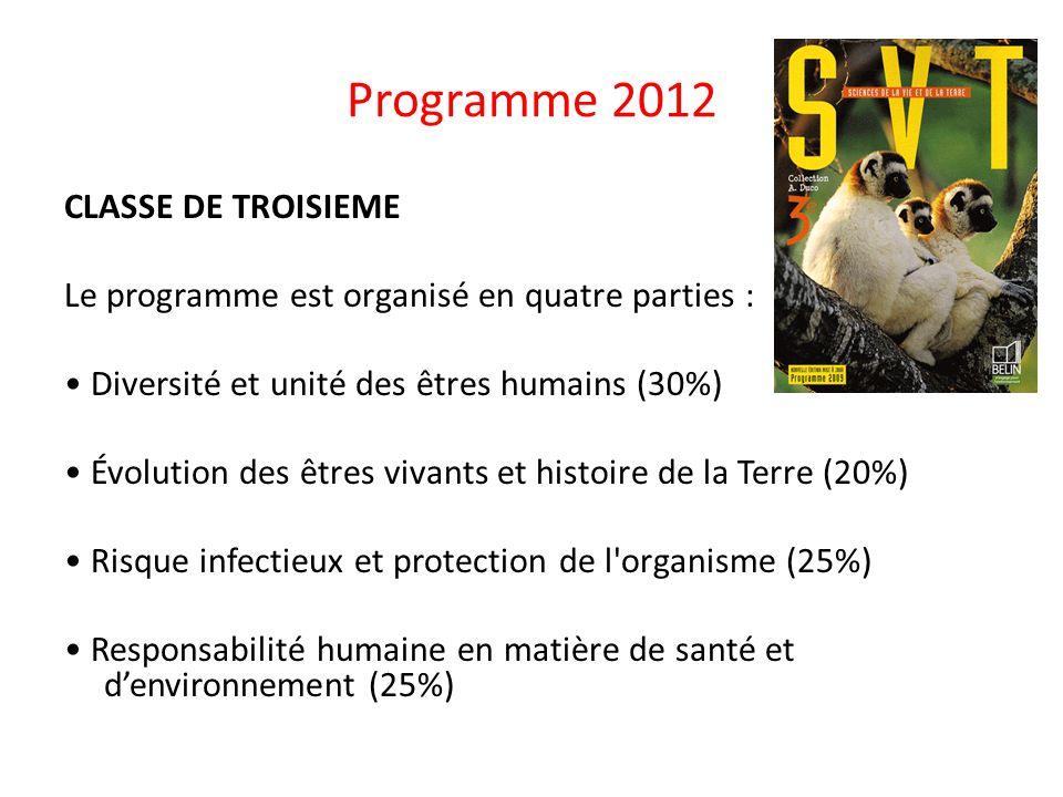 Programme 2012 CLASSE DE TROISIEME Le programme est organisé en quatre parties : Diversité et unité des êtres humains (30%) Évolution des êtres vivant