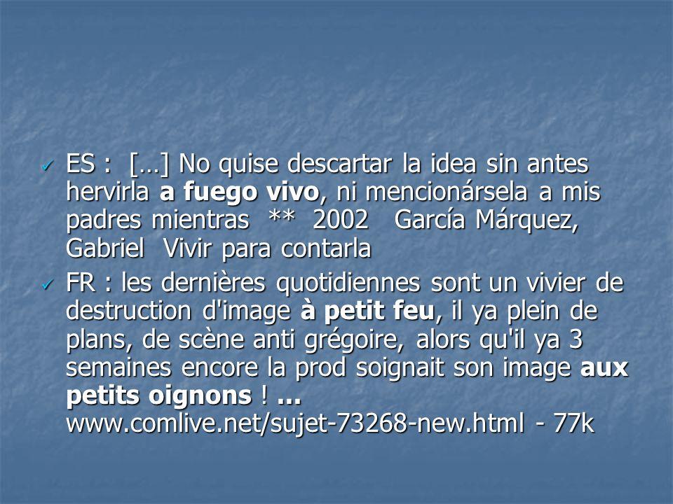 ES : […] No quise descartar la idea sin antes hervirla a fuego vivo, ni mencionársela a mis padres mientras ** 2002 García Márquez, Gabriel Vivir para