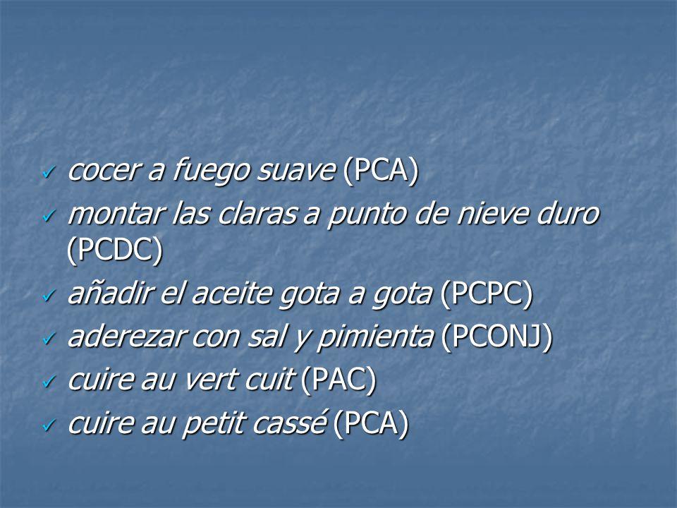 cocer a fuego suave (PCA) cocer a fuego suave (PCA) montar las claras a punto de nieve duro (PCDC) montar las claras a punto de nieve duro (PCDC) añad