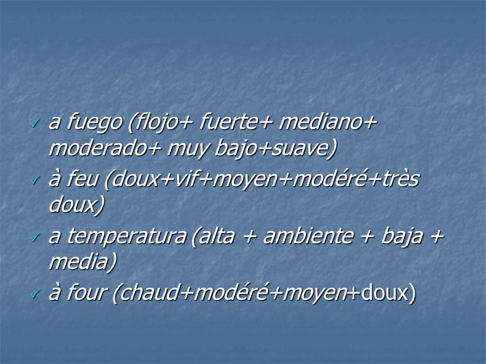 a fuego (flojo+ fuerte+ mediano+ moderado+ muy bajo+suave) a fuego (flojo+ fuerte+ mediano+ moderado+ muy bajo+suave) à feu (doux+vif+moyen+modéré+trè