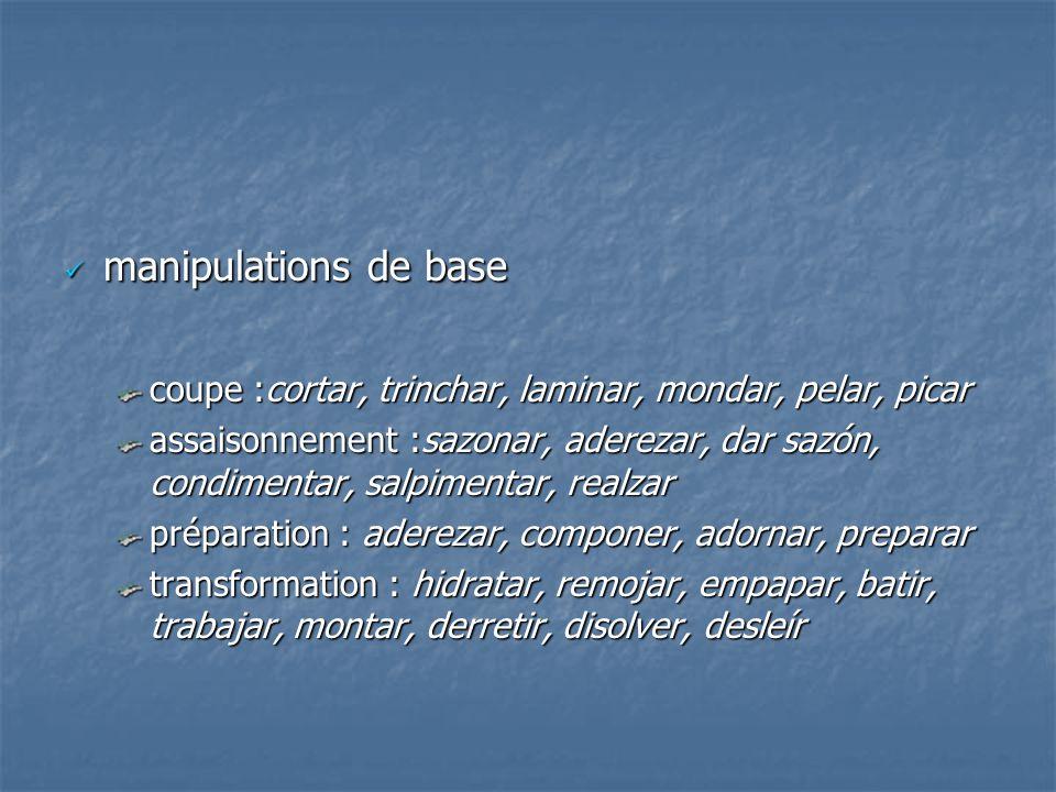 manipulations de base manipulations de base coupe :cortar, trinchar, laminar, mondar, pelar, picar assaisonnement :sazonar, aderezar, dar sazón, condi