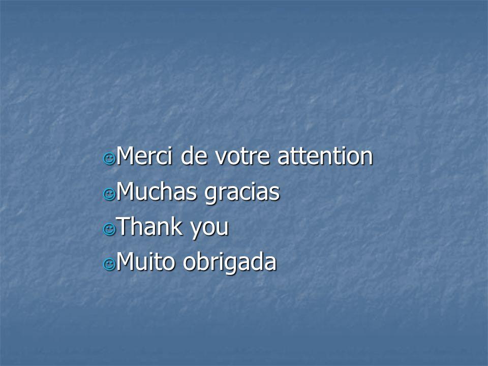 Merci de votre attention Merci de votre attention Muchas gracias Muchas gracias Thank you Thank you Muito obrigada Muito obrigada
